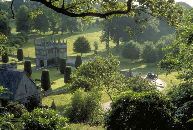 High angle view of Lanhydrock and gardens, near Bodmin, Cornwall, England, UK