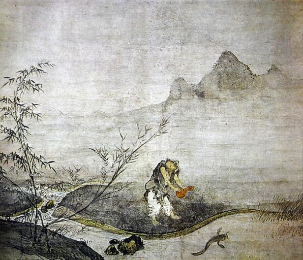 japon-elementos-hyonen-zu-por-josetsu-la-captura-de-un-pez-gato-con-una-calabaza-por-josetsu