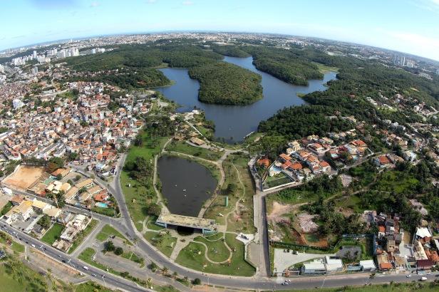Imagem aérea do Parque de Pituaçu em Salvador. Foto: Manu Dias/SECOM