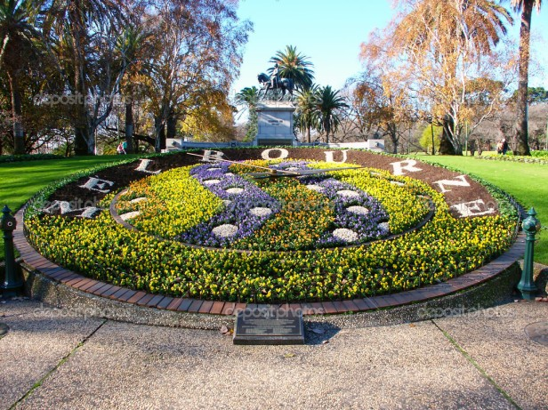 Melbourne, Australia - July 10, 2005: The Queen Victoria Gardens in Melbourne, Australia are a tribute to Queen Victoria.  Seen here is a large floral clock that has been in the park since 1966.
